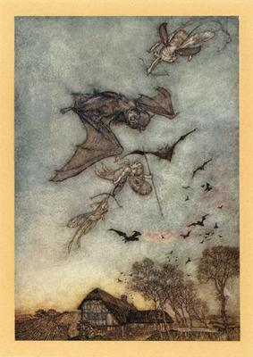 Arthuir Rackham Fairies fighting bats
