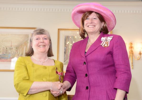 Viv receiving her BEM at Woburn. Photo Luton News