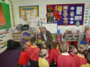 Bob and Simon introduce the bats to the children. Photo Jude Hirstwood