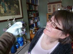 Geraldine entranced by the barbastelle.Photo Bob Cornes.